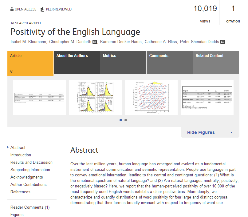 """Positivity of the English Language"" by Isabel M. Kloumann, Christopher M. Danforth, Kameron Decker Harris, Catherine A. Bliss and Peter Sheridan Dodds."