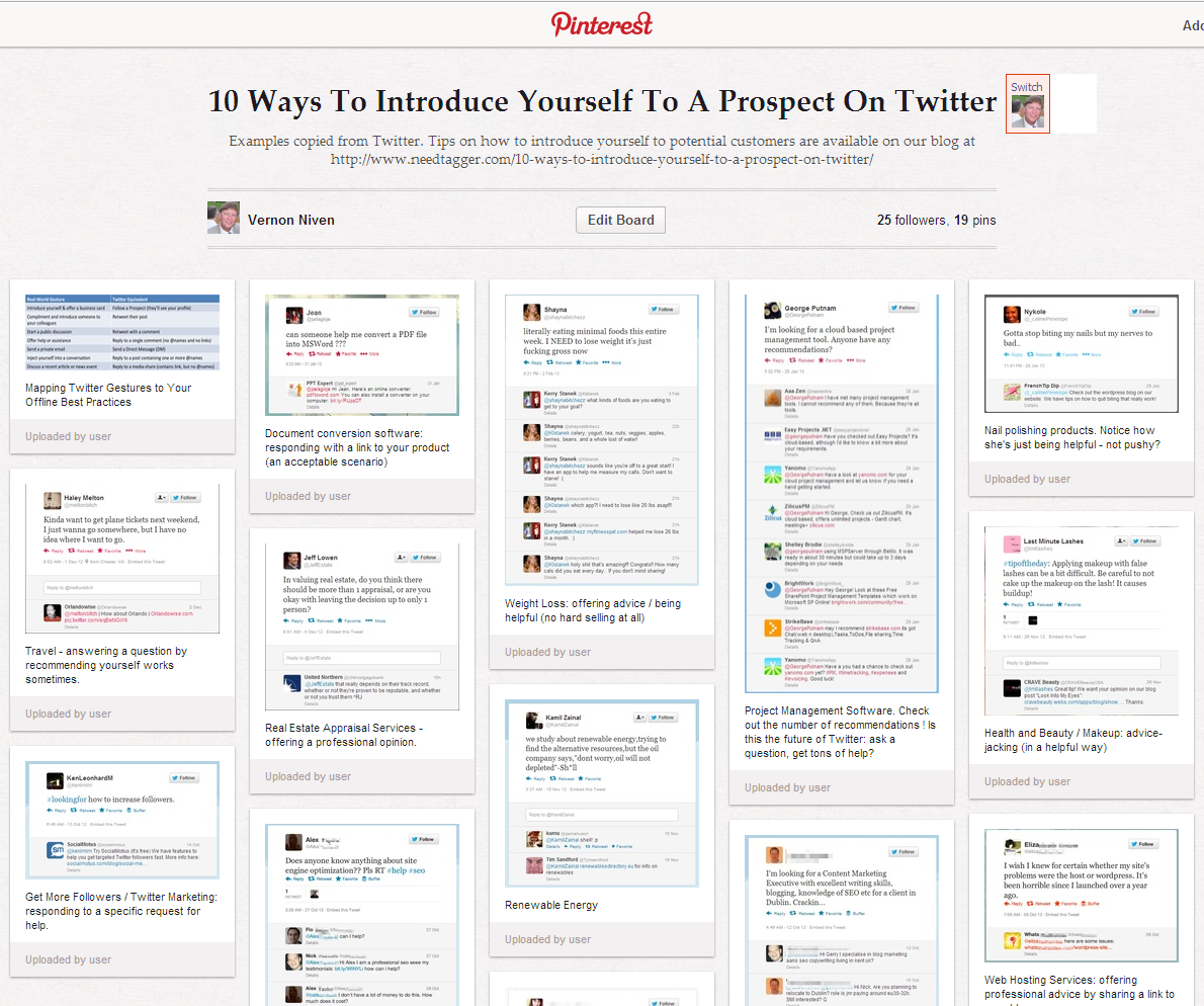 pinterest gallery of marketers connecting with sales prospects on Twitter